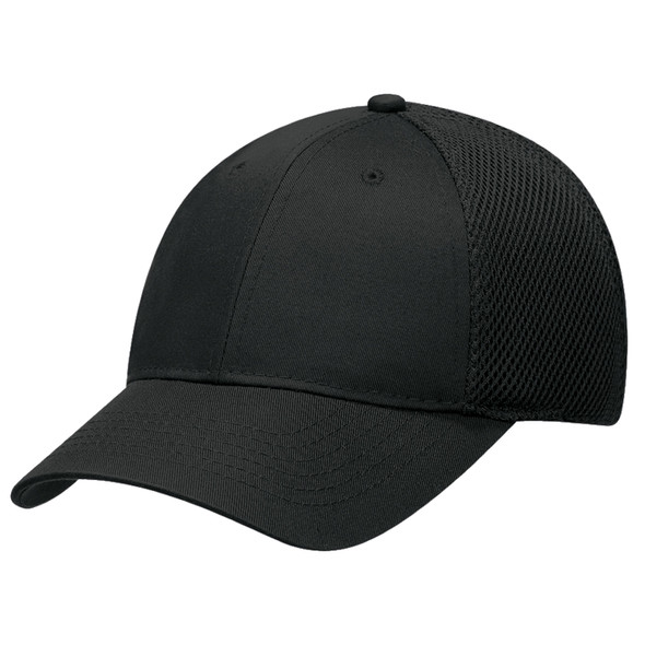 Black - 5A990 Polycotton/Poly Honeycomb Mesh Adjust-a-Fit Cap | Hats&Caps.ca
