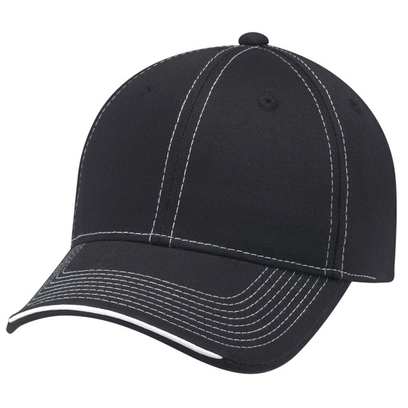 Black/Black/White - 6F617M Deluxe Chino Twill Cap with Contrast Stitching | Hats&Caps.ca