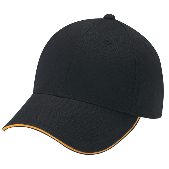 Black/Gold - 6F580M Deluxe Chino Twill Cap with Contrast Edge | Hats&Caps.ca