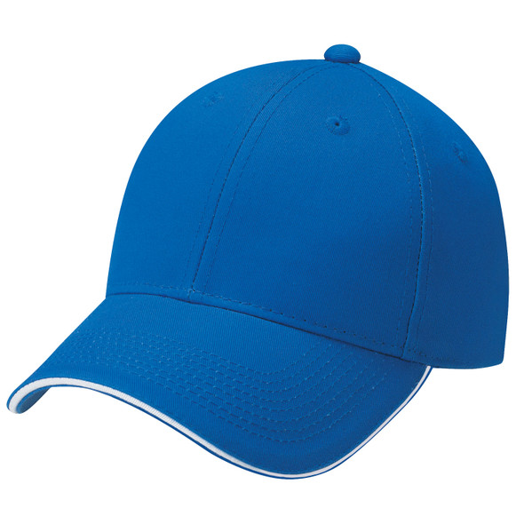 Royal Blue/White - 6F580M Deluxe Chino Twill Cap with Contrast Edge | Hats&Caps.ca