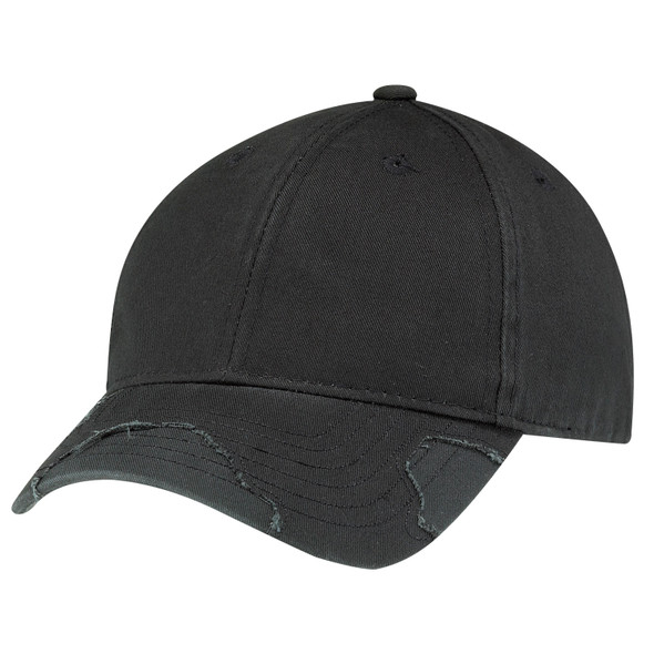 Washed Black/Black - 6D192M Distressed Deluxe Chino Twill Cap | Hats&Caps.ca