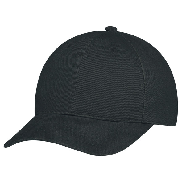 Black - 2C390M Heavyweight Brushed Cotton Drill Cap | Hats&Caps.ca