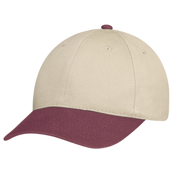 Burgundy/Taupe - 2C398M Dual Colour Heavyweight Brushed Cotton Drill Cap | Hats&Caps.ca