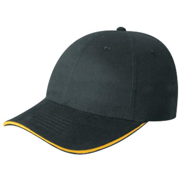 Black/Gold - 5D780M Cotton Drill Cap with Accent Stripe | Hats&Caps.ca