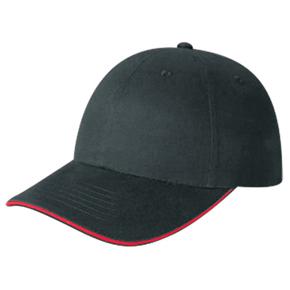 Black/Scarlet Red - 5D780M Cotton Drill Cap with Accent Stripe | Hats&Caps.ca