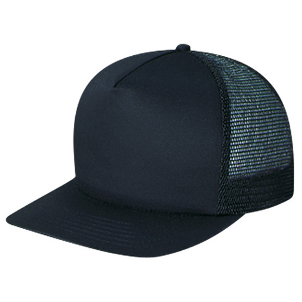 Black - 5050M Mesh Back 5 Panel Cap | Hats&Caps.ca