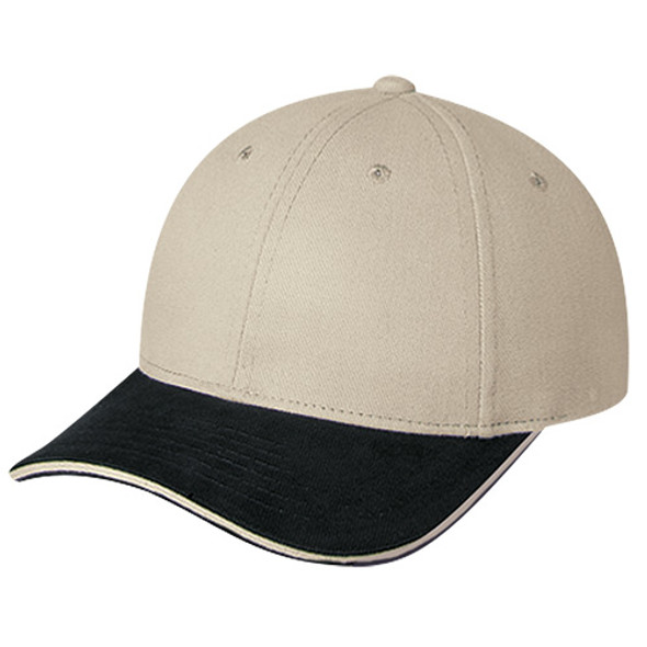 Black/Taupe - 2C438M Dual Colour Heavyweight Brushed Cotton Drill Cap | Hats&Caps.ca