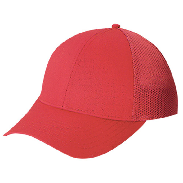 Red - 5C390M Polyester Mesh Back Cap | Hats&Caps.ca