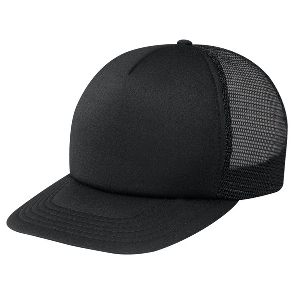 Black - 4050M 5 Panel Traditional Mesh Back Cap | Hats&Caps.ca