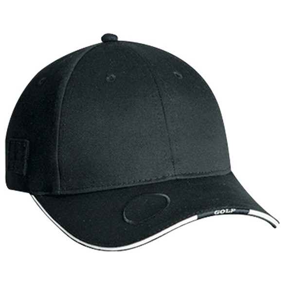 Black/White - 6J070M Deluxe Blended Chino Twill 6 Panel Cap | Hats&Caps.ca