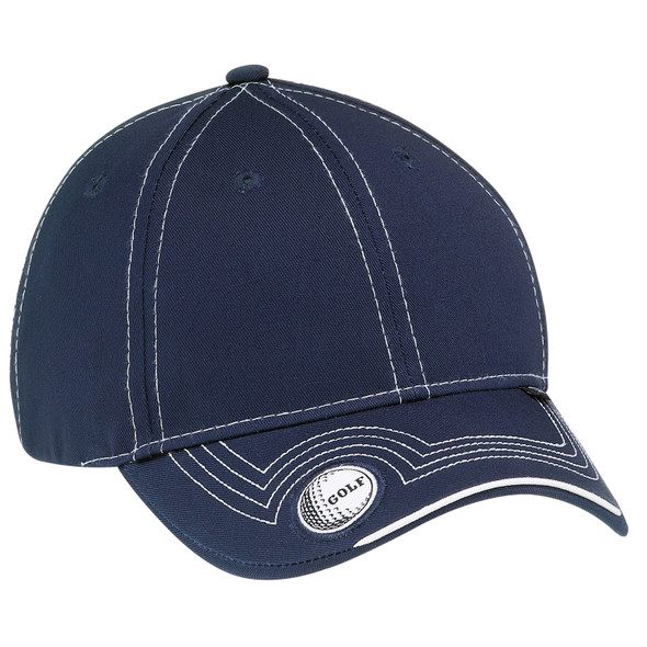 Navy - 6J187M Deluxe Blended Chino Twill Full-Fit Cap (Golf) | Hats&Caps.ca