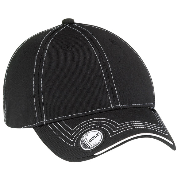 Black -  6J187M Deluxe Blended Chino Twill Full-Fit Cap (Golf) | Hats&Caps.ca