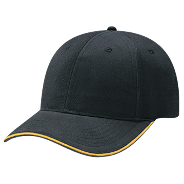Black/Gold - 5D430M Brushed Cotton Drill 6 Panel Constructed Cap | Hats&Caps.ca