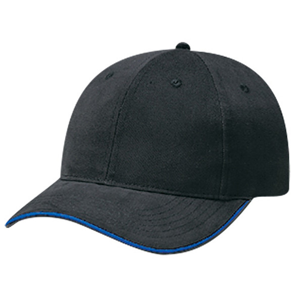 Black/Royal Blue - 5D430M Brushed Cotton Drill 6 Panel Constructed Cap | Hats&Caps.ca
