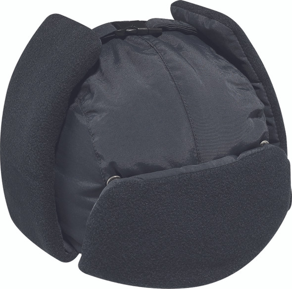 Black - 1Z000 Nylon/Polyester Micro Fleece Winter Bomber Hat With Earflaps | HatsandCaps.ca