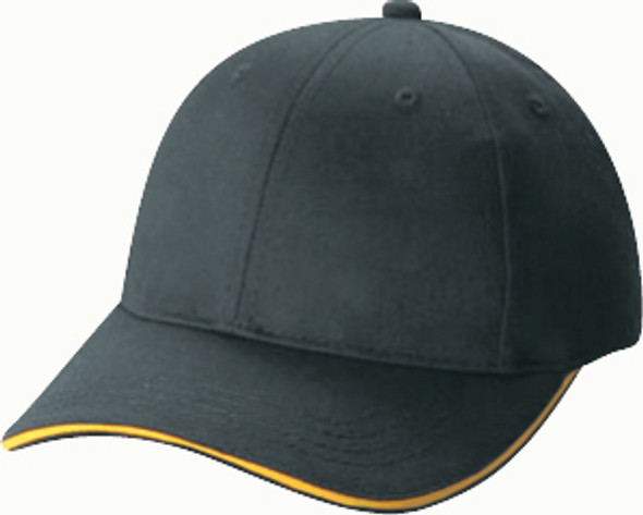 Black/Gold - 5150B Polycotton 6 Panel Youth Cap | Hats&Caps.ca