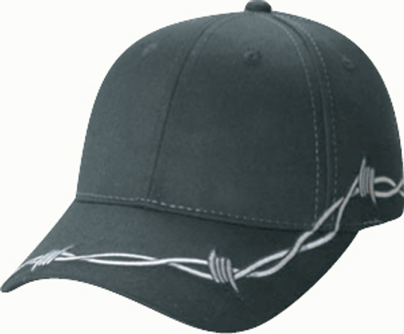 Black - 5500M Poly/Cotton Barbed Wire Cap | Hats&Caps.ca