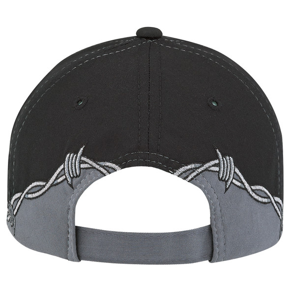 Black/Charcoal - 5713M Polycotton Barbed Wire Cap | Hats&Caps.ca