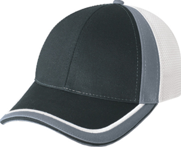 Black/White/Charcoal - 5M082M Chino Twill/Polyester Mesh Trucker Cap | Hats&Caps.ca