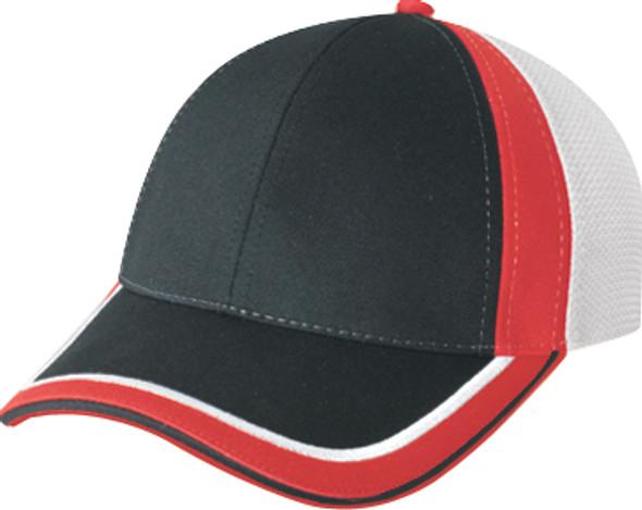 Black/White/Red - 5M082M Chino Twill/Polyester Mesh Trucker Cap | Hats&Caps.ca