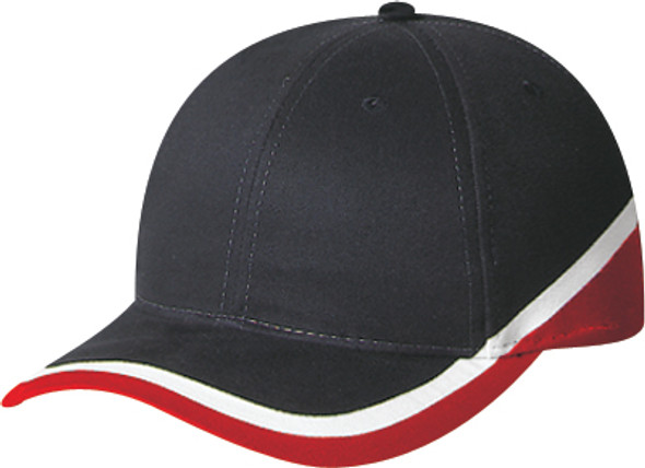 Black/Scarlet Red/White -  6119M Cotton Drill Cap | Hats&Caps.ca