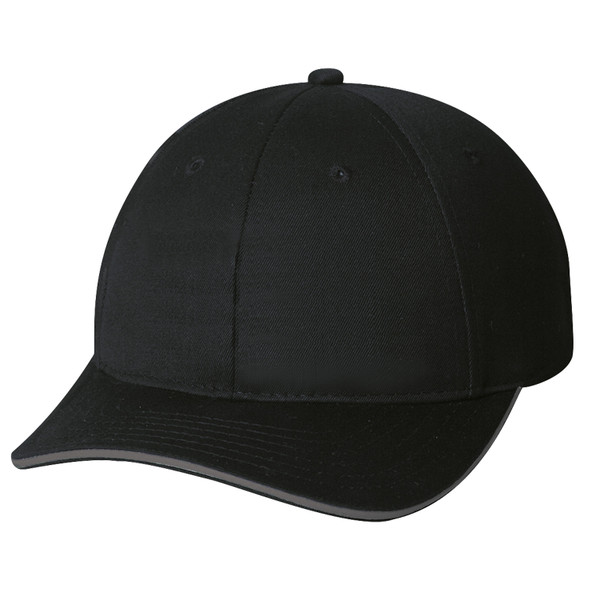 Black - 6J480M Reflective Chino Twill Cap | Hats&Caps.ca