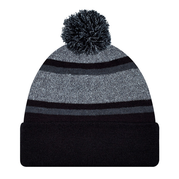 Black/Charcoal - 9M069M Striped Pom-Pom Acrylic Toque | Hats&Caps.ca
