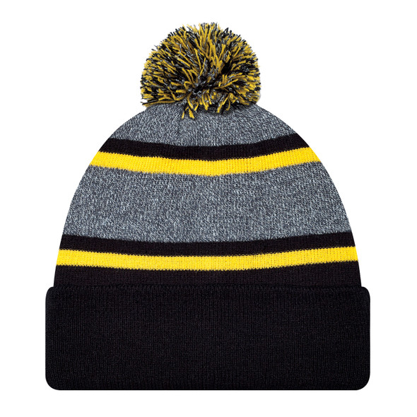 Black/Gold - 9M069M Striped Pom-Pom Acrylic Toque | Hats&Caps.ca
