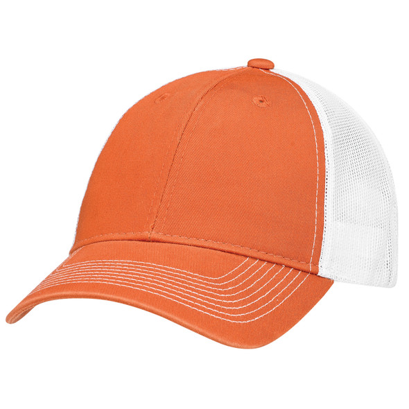 Washed Burnt Orange/Washed White - 6H642M Enzyme Washed Deluxe Twill/Soft Nylon Mesh Chino Cap | Hats&Caps.ca