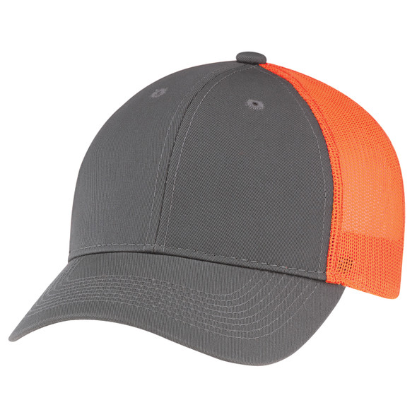 Washed Charcoal/Washed Fluorescent Orange - 6H647M Enzyme Washed Deluxe Twill/Soft Nylon Mesh Chino Cap | Hats&Caps.ca