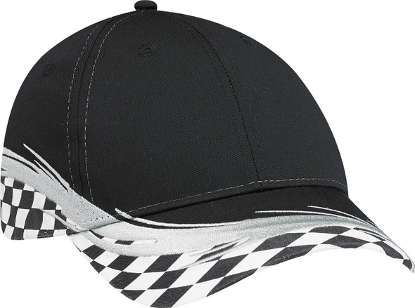 Black/Grand Prix - 5223M Poly/Cotton Grand Prix Flare Cap | Hats&Caps.ca
