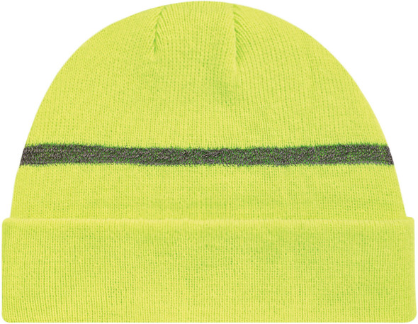 Safety Green/Reflective Grey -  Safety Acrylic Cuff Toque | Hats&Caps.ca