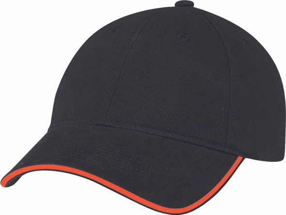 Black/Orange - Heavyweight Cotton Constructed Full-Fit Cap | Hats&Caps.ca
