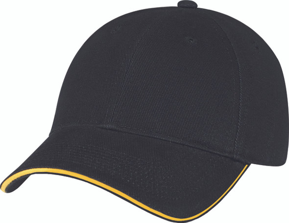 Black/Gold - Heavyweight Cotton Constructed Full-Fit Cap | Hats&Caps.ca