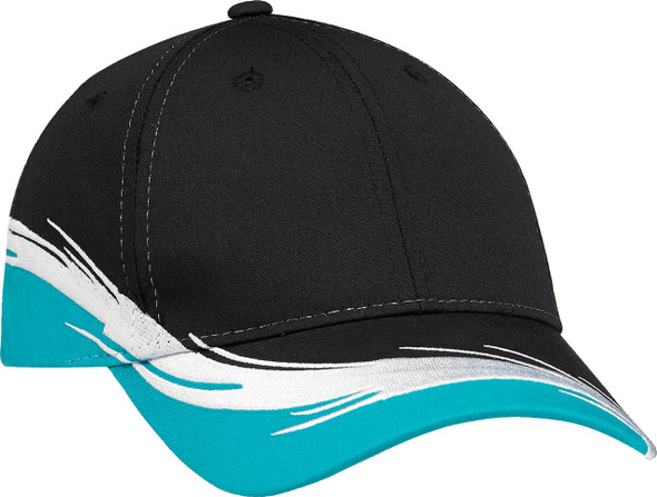 Aqua/Black - Poly/Cotton Constructed Full-Fit Flare Cap | Hats&Caps.ca