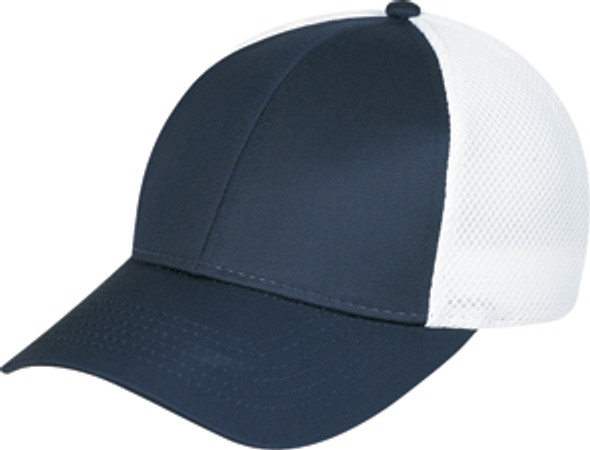 Midnight Blue/White Polycotton/Polyester Honeycomb Mesh Constructed Contour Cap