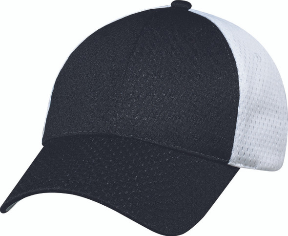 Black/White - Jersey Mesh Constructed Full-Fit Cap | Hats&Caps.ca
