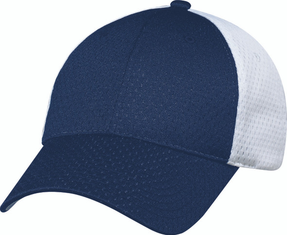 Navy/White - Jersey Mesh Constructed Full-Fit Cap | Hats&Caps.ca