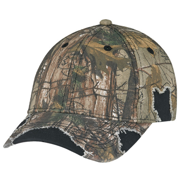 Black/Realtree Xtra® -6Y193M Enzyme Washed Twill/Brushed Polycotton Camouflage Distressed Cap | Hats&Caps.ca