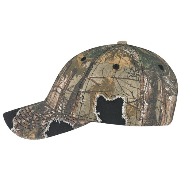 Black/Realtree Xtra® - Side, 6Y193M Enzyme Washed Twill/Brushed Polycotton Camouflage Distressed Cap | Hats&Caps.ca