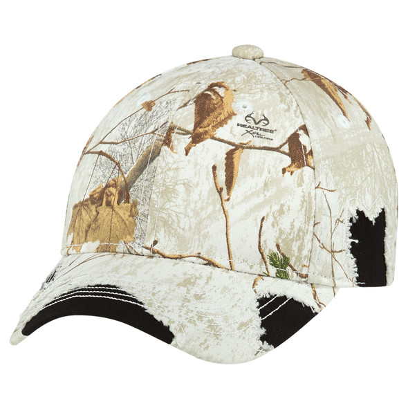 "Black/Realtree Xtra® Colors ""Snow"" - 6Y193M Enzyme Washed Twill/Brushed Polycotton Camouflage Distressed Cap 