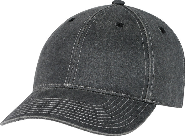 Black - Pigment Dyed Washed Poly/Cotton Constructed Full-Fit Cap | Hats&Caps.ca