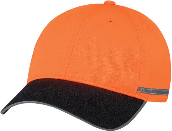 Black/Fluorescent Orange/Reflective Grey - 8C058M Safety Polycotton/Polyester Constructed Full-Fit Cap | Hats&Caps.ca