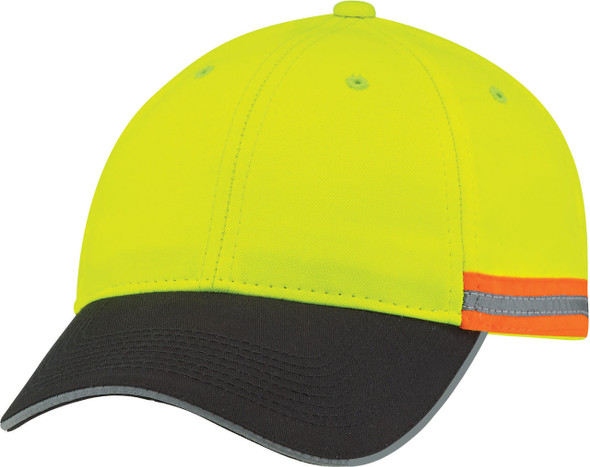Black/Safety Green/Reflective Grey - 8C079M Safety Polycotton/Poly Full-Fit Cap | Hats&Caps.ca