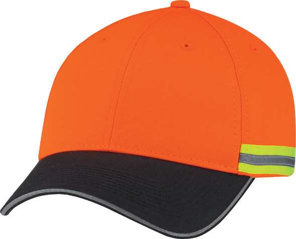 Black/Fluorescent/Reflective Polycotton/Polyester Constructed Full-Fit Cap