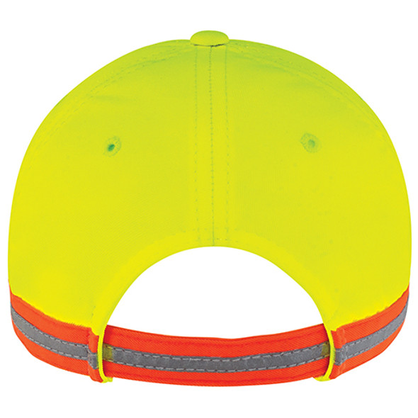 Black/Safety Green/Reflective Grey - Back, 8C079M Safety Polycotton/Poly Full-Fit Cap | Hats&Caps.ca