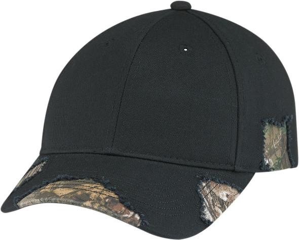 Realtree Xtra®/Black - 6Y194M Realtree Poly/Cotton Distressed Chino Twill Camo Cap | Hats&Caps.ca
