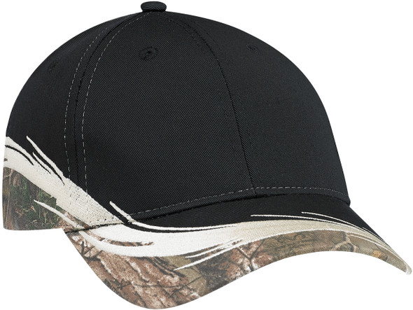 Realtree Xtra®/Black - 6Y224M Polycotton Blended Chino Twill Cap | Hats&Caps.ca