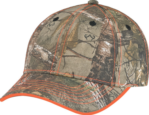 Realtree Xtra®/Fluorescent Orange - 6Y434M Brushed Polycotton Camo Cap | Hats&Caps.ca