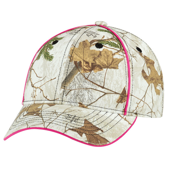 "Realtree Xtra® Colors ""Snow""/Pink - 6Y499M Poly/Cotton Camo Contour Cap 